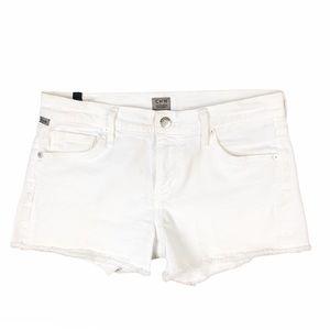 Citizens of Humanity White Raw Hem Denim Shorts
